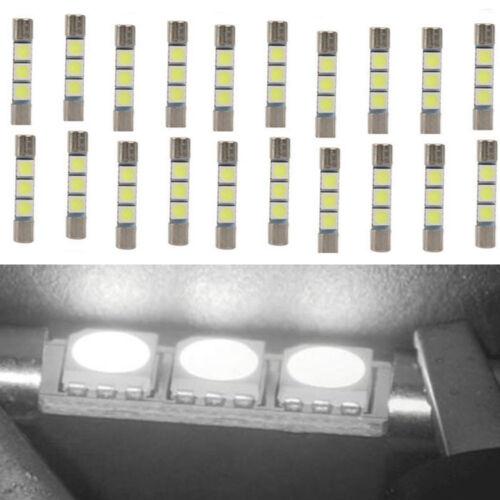 20Pcs White 31MM 3-SMD 6641 Fuse Car LED SUN Visor Vanity Mirror Light Bulbs US