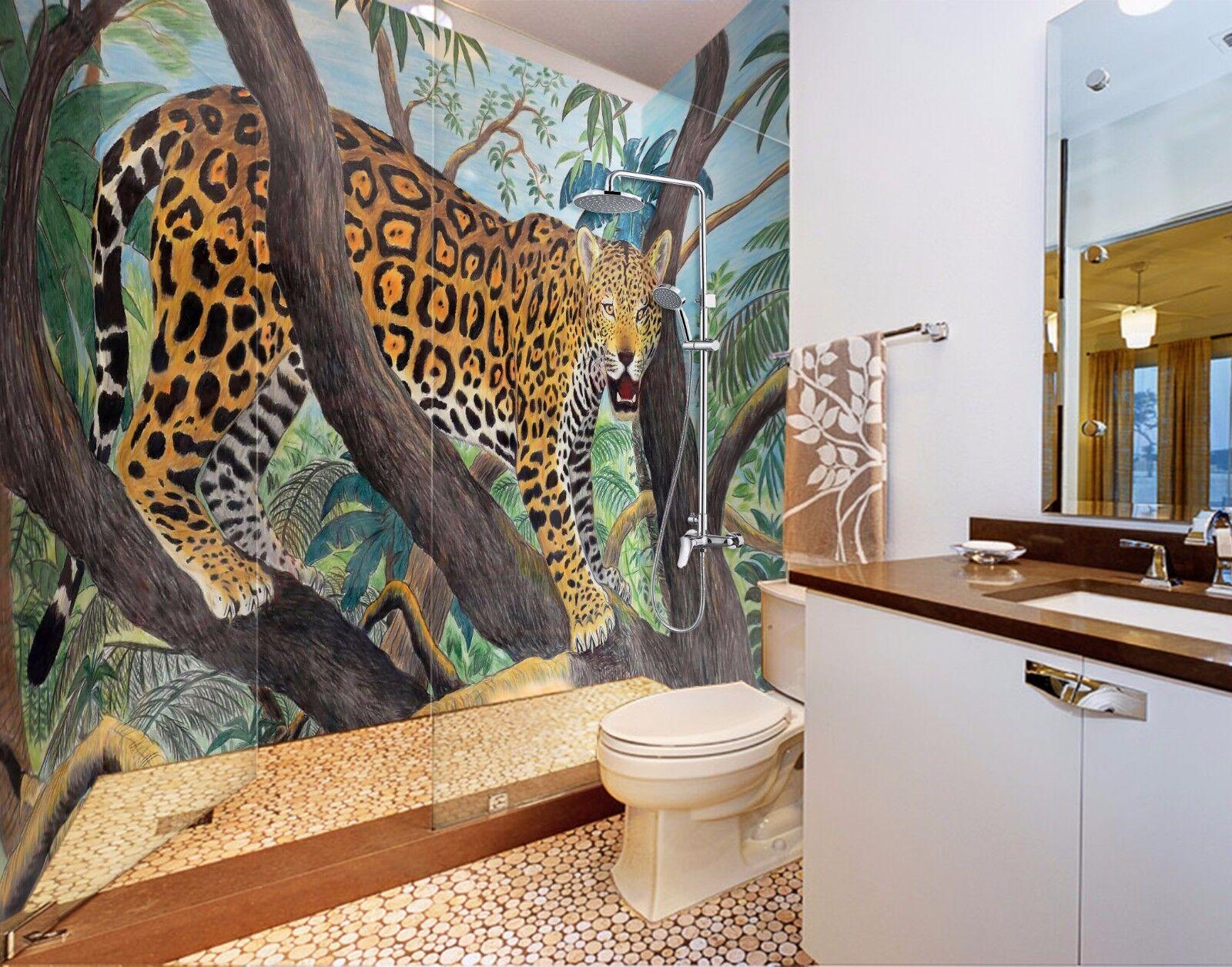 3D Leopard  7108  WallPaper Bathroom Print Decal Wall Deco AJ WALLPAPER AU