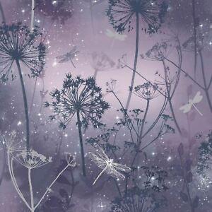 Damselfly-Glitter-Wallpaper-Purple-Silver-Dandelions-Trees-Floral-Ombre-Arthouse