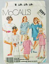 McCalls 3201 Sewing Pattern Girls Top Pants Shorts Stretch Knit VTG Sz 10 12 14