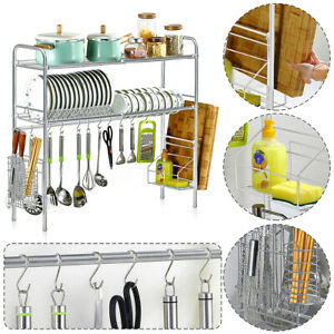 1-2-Tier-Kitchen-Sink-Dish-Drainer-Plate-Cups-Dry-Rack-With-Cutlery-Caddy-Steel