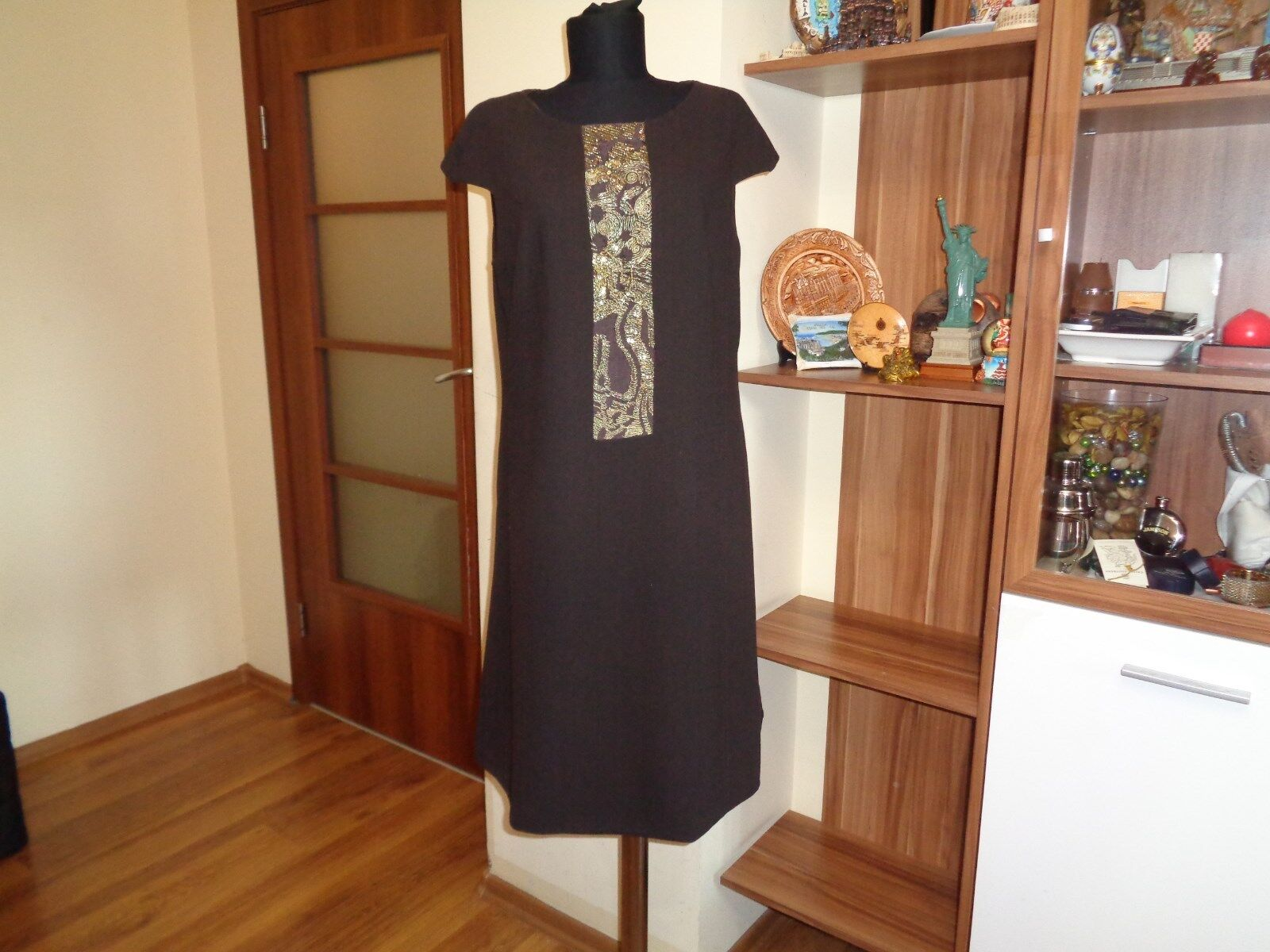 BADGLEY MISCHKA DARK BROWN WOOL CREPE A-LINE DRESS WITH gold METALLIC EMBROIDERY