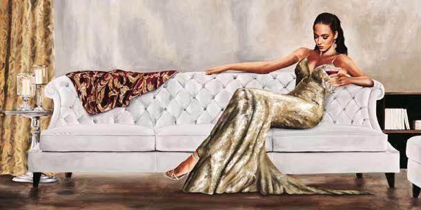 Sergio Jannace  Gala Keilrahmen-Bild Leinwand Mädchen Frau Fashion Mode Sofa