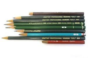 Lot-of-9-Vintage-Art-Pencils-Craftint-Professional-Drawing-Berol-A-W-Faber