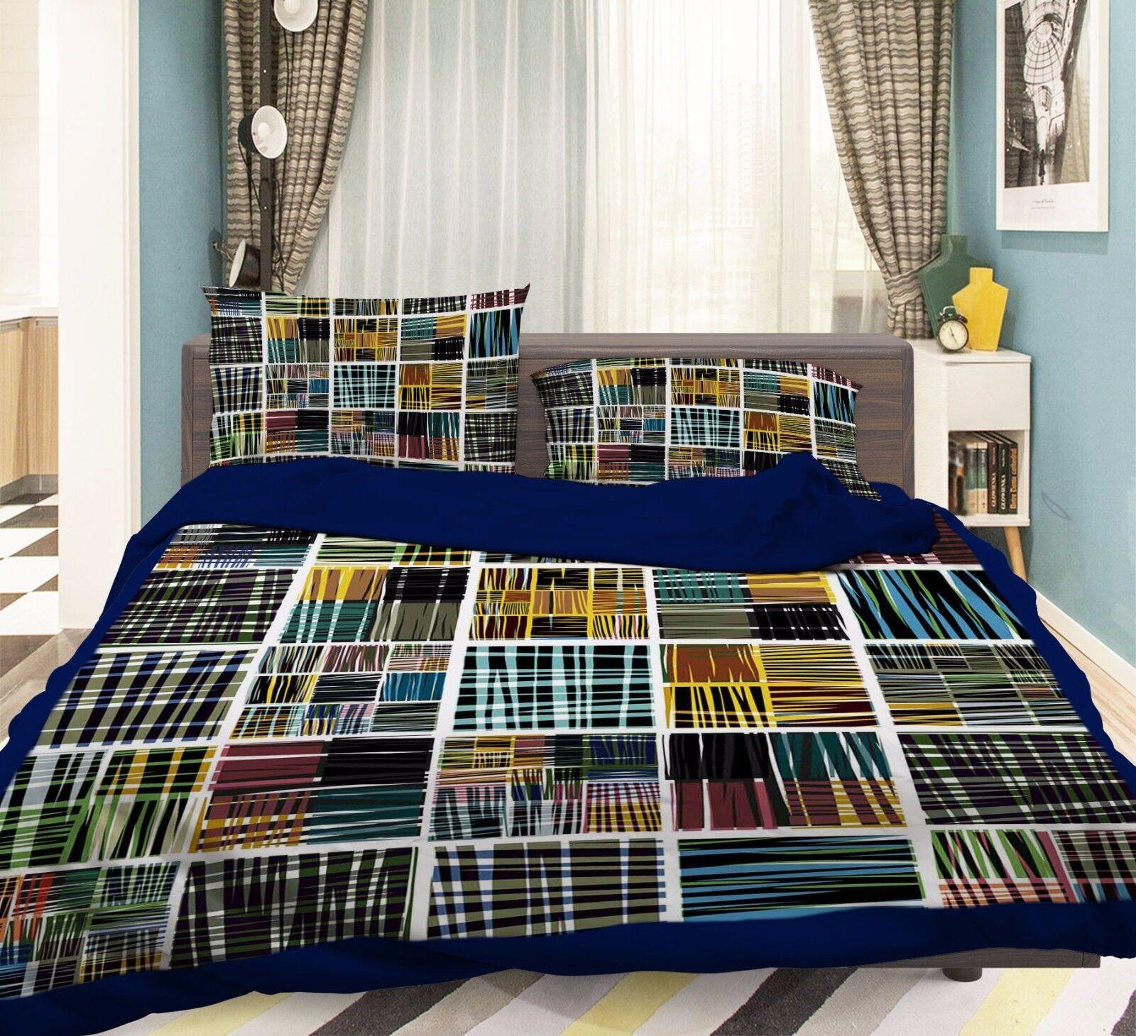 3D Farbe Grid 744 Bed Pillowcases Quilt Duvet Cover Set Single Queen UK Summer