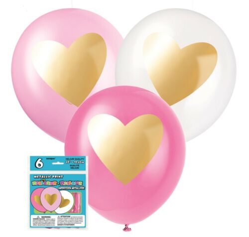 6 Gold Heart Balloons Valentine's Day Birthday Unicorn Party Decoration Helium