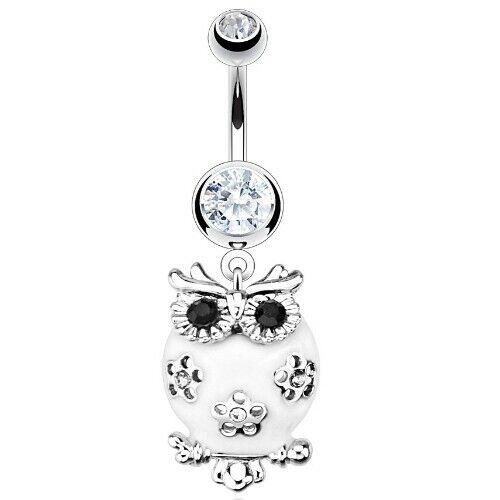 Bauchnabelpiercing Edelstahl ab 6mm Anhänger Eule weiß und Kristallen Piercing
