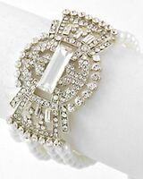 Bridal Vintage Look 4 Row Clear Rhinestone Crystal & White Pearl Bracelet