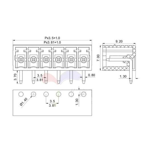 3.81MM Pitch 90° Pin Header PCB Header Socket Connector 1-12Pin For KF2EDGK Plug