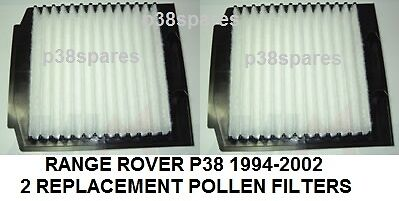 range rover p38 2 x pollen cabin filters 2.5 diesel 4.6 4.0 petrol