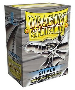 100-PROTECTIVE-SLEEVES-Silver-Argento-MTG-MAGIC-Dragon-Shield
