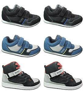 Boys-Hugo-Boss-Trainers-New-Strap-Fastening-Kids-Hi-Tops-Shoes-Sale-Size-9-7-5
