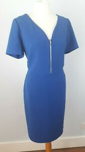 Pied-a-Terre-Size-16-Electric-Blue-Fitted-Dress-Zip-Smart-Work-Career