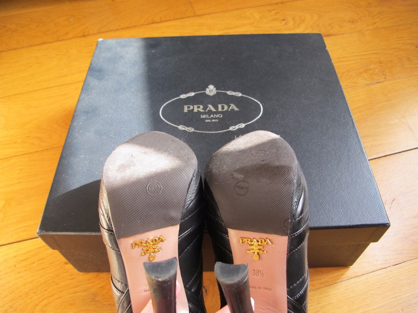 Bottines PRADA en cuir cuir en negro T38.5 6399a5