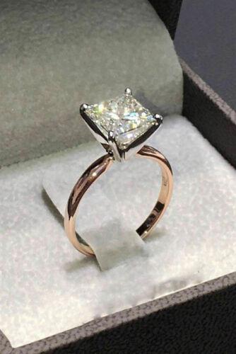 2Ct Princess-Cut VVS//D Diamond Solitaire Engagement Ring 14K Rose Gold Finish
