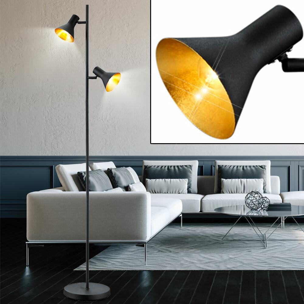 Wand Spot Schwarz Gold Flur Büro Leuchten verstellbar Wohn Schlaf Zimmer Retro