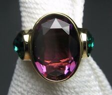 Joseph Esposito Statement Cocktail Ring - Purple & Green Glass Stones - Size 8.5