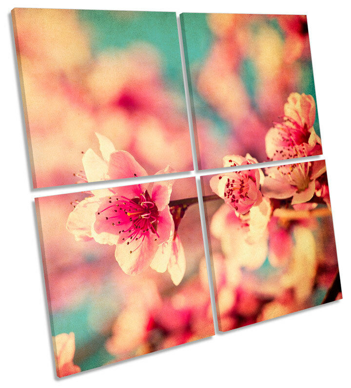 Blossom Floral Flowers Grunge MULTI CANVAS WALL ART Square Picture