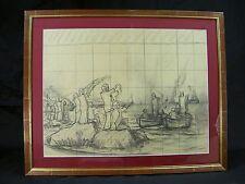 FREDERIC MONTENARD GRAND DESSIN ORIENTALISTE MISE AU CARREAU ENCADRE XIXè CRAYON