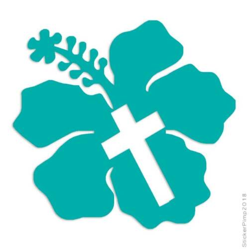 Size #3407 Hibiscus Cross Decal Sticker Choose Color