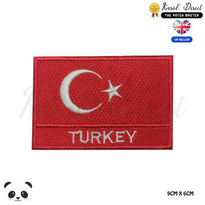 Turkey-National-Flag-With-Name-Embroidered-Iron-On-Sew-On-Patch-Badge