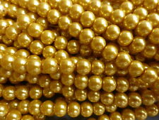 1 Strand (140 Beads) Gold Glass Pearl Beads 6mm, Faux Pearls, Imitation Pearls