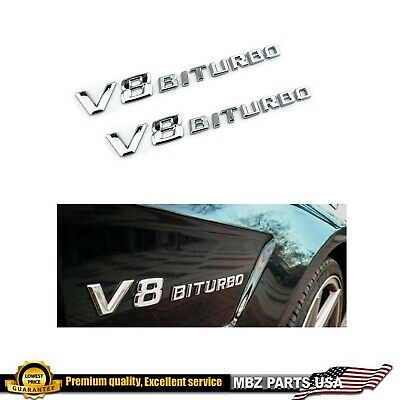 Chrome Side Fender Sticker Emblem Badge OEM V8 BITURBO For All Mercedes-Benz red