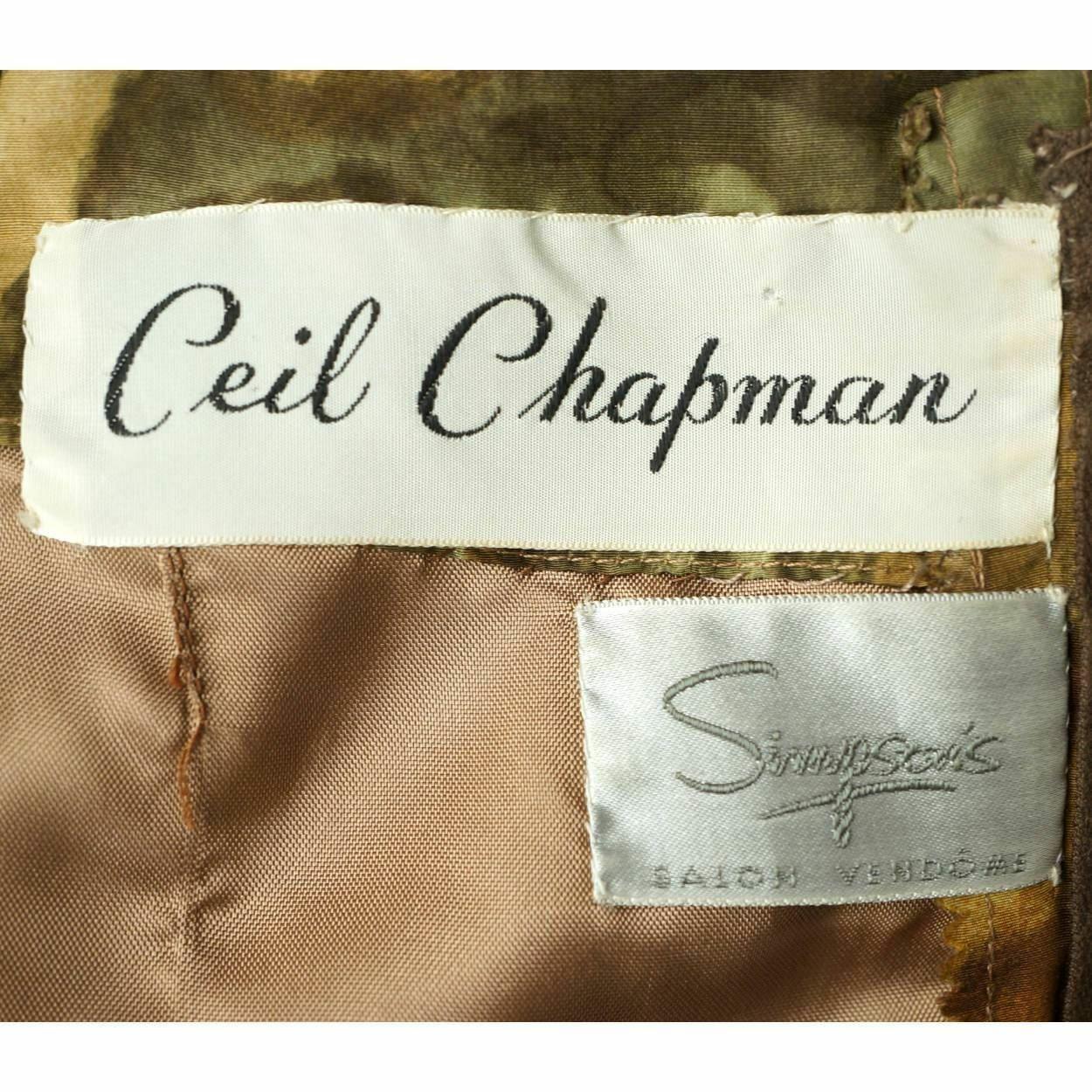 Vintage Ceil Chapman Wiggle Dress Abstract Leaf P… - image 4