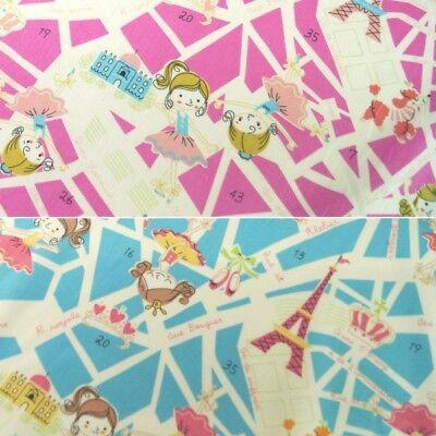 100/% Cotton Fabric John Louden Little Ballerina Girls Dancing Ballet Dance