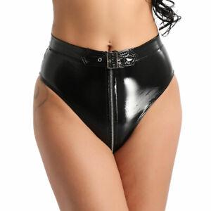 Frauen-Hohe-Taille-Wetlook-Reissverschluss-Slips-Unterwaesche-Panties-mit-Guertel