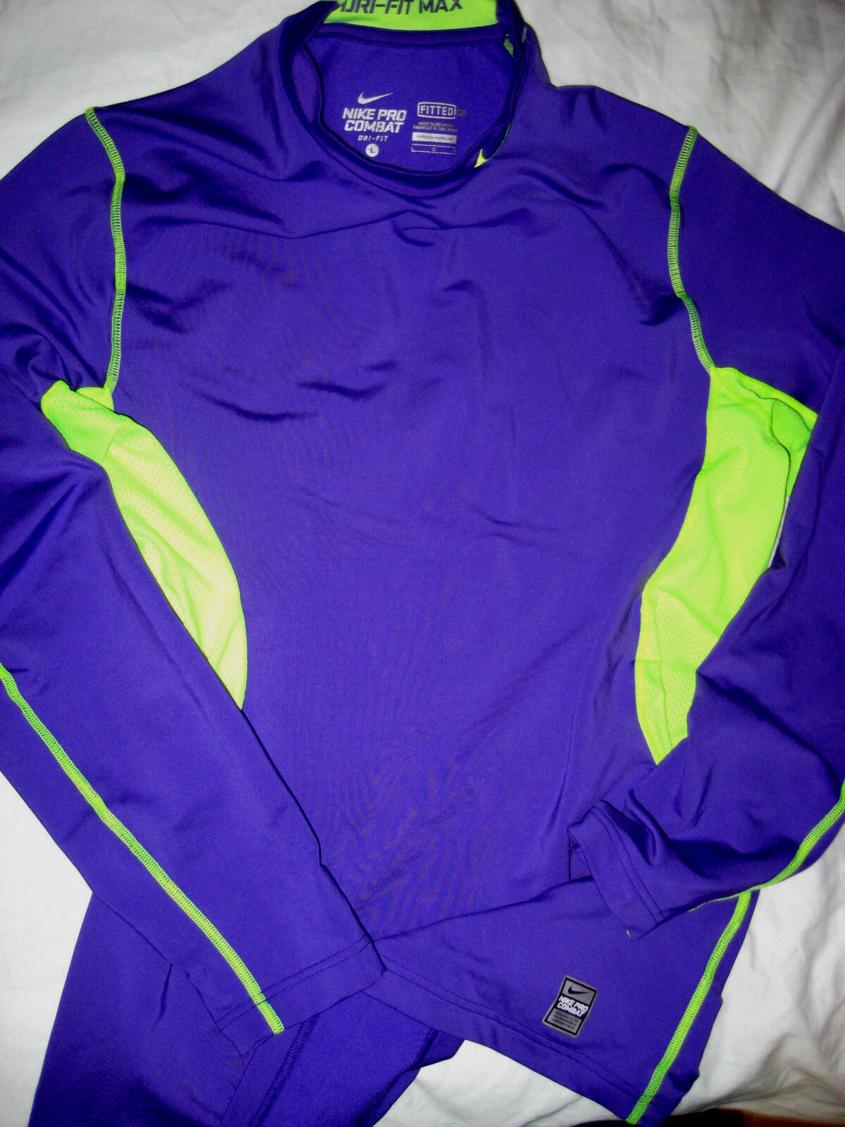 NIKE PRO COMBAT HYPERWARM MAX HIGH VISIBILITY LOGO COMPRESSION SHIRT-FITTED-L