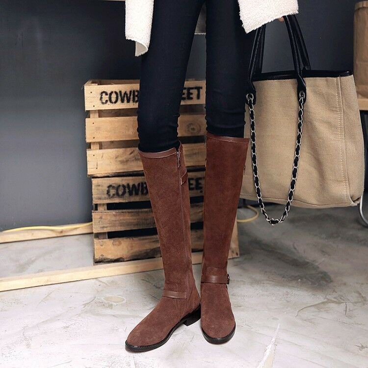Retro femmes Suede Knee High Long bottes Round Toe Block Low Heel Buckle chaussures