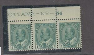 CANADA-89-KEV11-STRIP-OF-3-STAMPS-MNH-1-MH-OTTAWA-PLATE-54-CAT-VAL-120