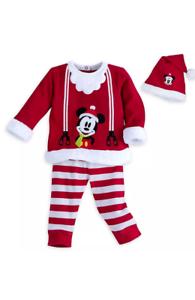 DISNEY-STORE-Baby-Boys-3-6M-Mickey-Mouse-3-Piece-Holiday-Santa-Set-NWT
