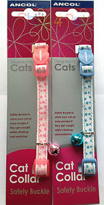 Ancol-Cat-Collar-in-Pink-or-Blue-With-or-Without-a-Engraved-Pet-ID-Tag-Tags