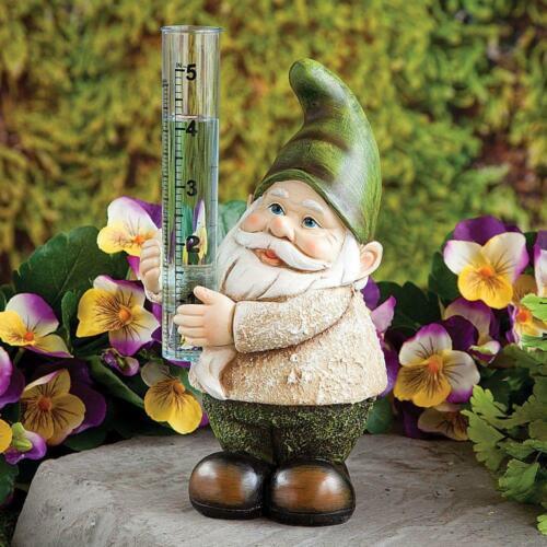 "Smiling Gnome Rain Gauge Holds 5/""Rain Hand-painted Polyresin Plastic 8/""H"