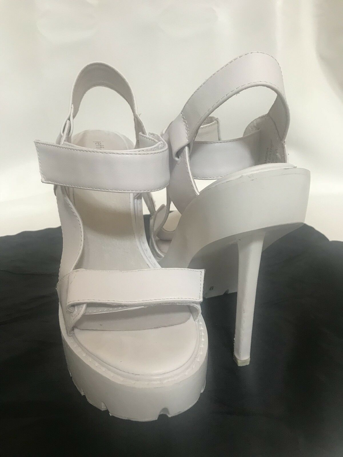 Jeffrey Campbell TAMERA 9 Platform Stiletto Sandals SPORTY White Leather HEELS