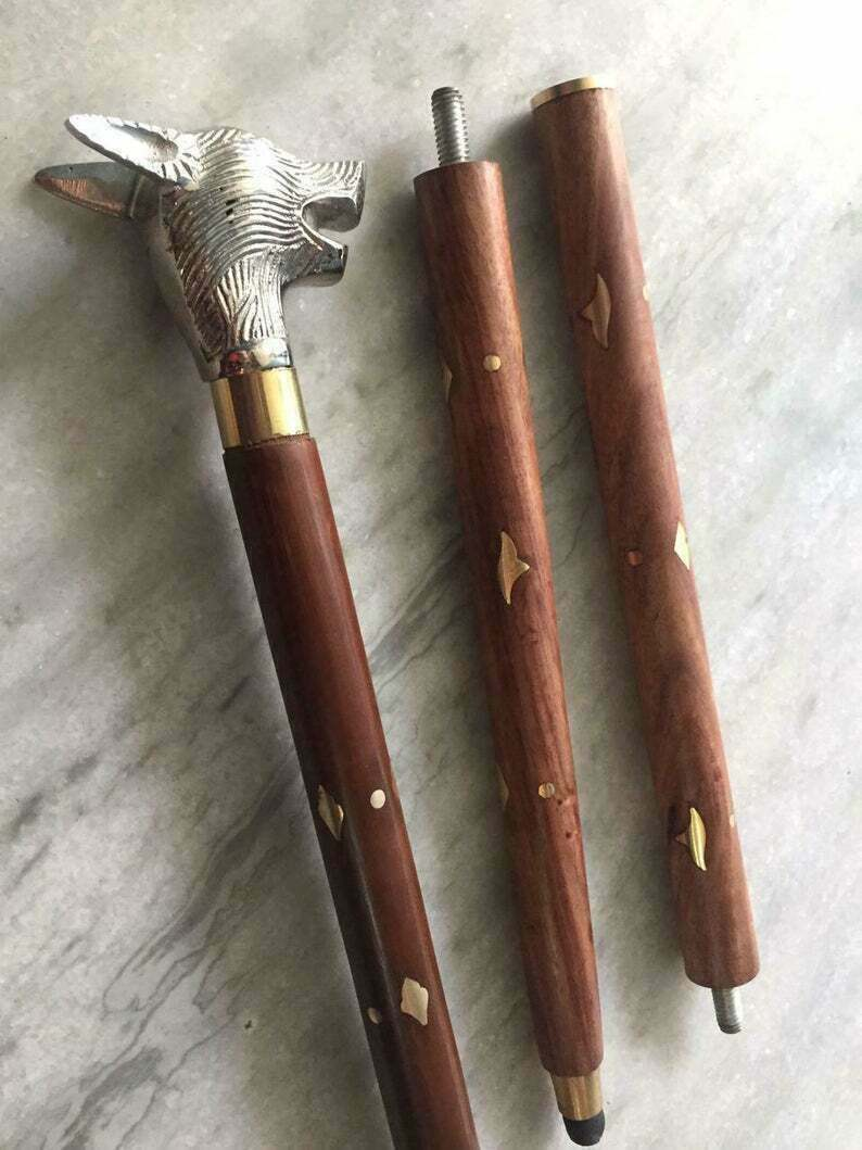 Vintage Solid Brass DOG Handle Style Victorian Cane Wooden Walking Stick Gift