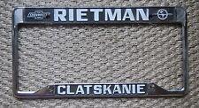 Rietman Clatskanie Chevrolet Dealership License Plate Frame Metal Embossed Rare