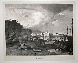 Nettuno-Latium-Rom-Italy-Ansicht-Stich-Holzstich-um-1885