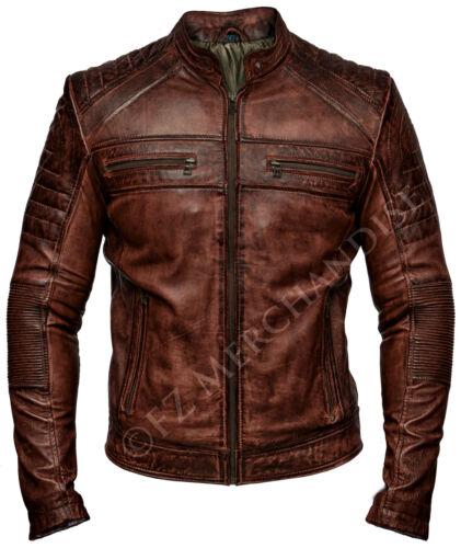 Mens Biker Vintage Antique Brown Cafe Racer Real Leather Jacket Motorcycle