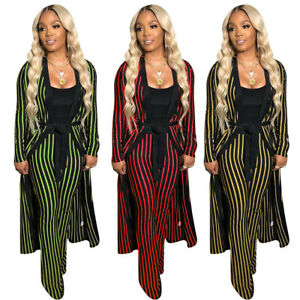 Women-Stripe-Print-Belted-Long-Coat-Long-Pant-Casual-Club-Jumpsuit-Outfits-2pc