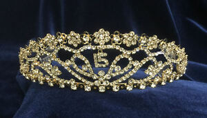 """Crystal Clear Rhinestones Sweet 15 Quinceanera w//Combs.Gold Plated Tiara.4/"""" Tall"""