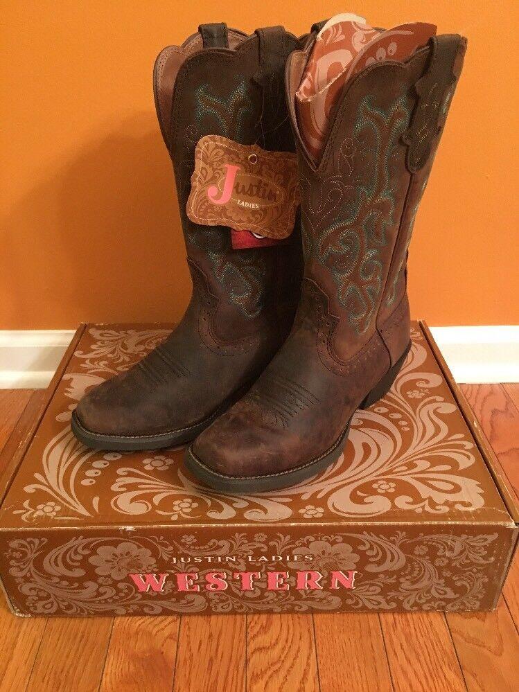 Justin Western Cowboy bottes Leather Stampede Sorrel Apache L2552 Taille 8 B