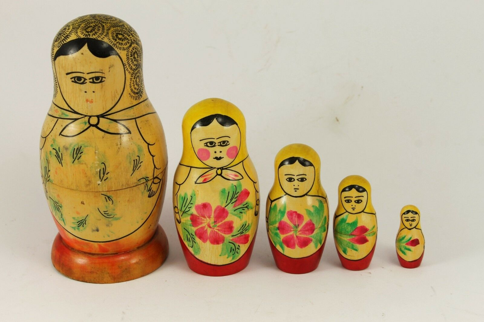 1965 Vintage Russian Wooden Dolls Set MATRYOSHKA Hand Painted