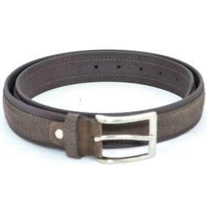 Cintura uomo marrone in pelle scamosciata e tela regolabile fibbia in acciaio ni