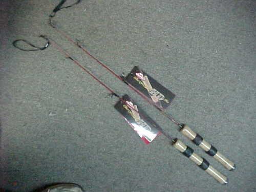 "2 NEW BERKLELY CHERRYWOOD HD Ice Fishing Rod 26"" medium light  KAYAK RODS"
