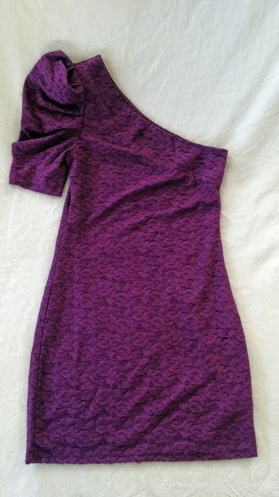 NWT Forever 21 Purple One Shoulder Short Puff Sleeve Floral Bodycon Lace Dress M