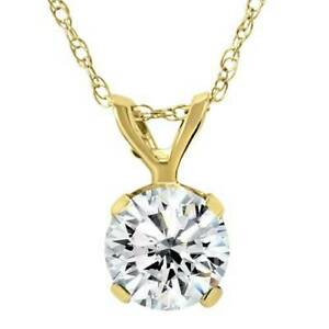 Large-3-4ct-Real-Diamond-Solitaire-Pendant-14K-Yellow-Gold-Womens-Necklace