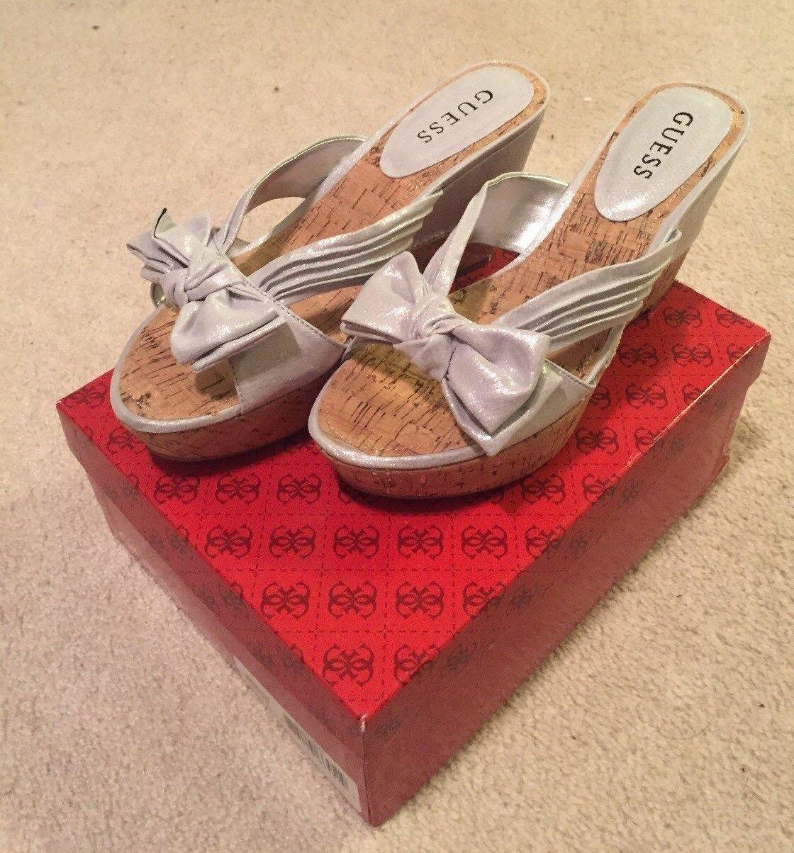 NIB Guess    Partis  Silver Wedge Heels size 7.5 2e446b
